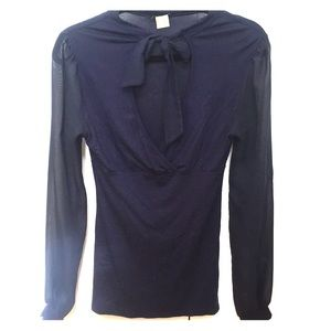 Venus navy chiffon sleeve bow tie top